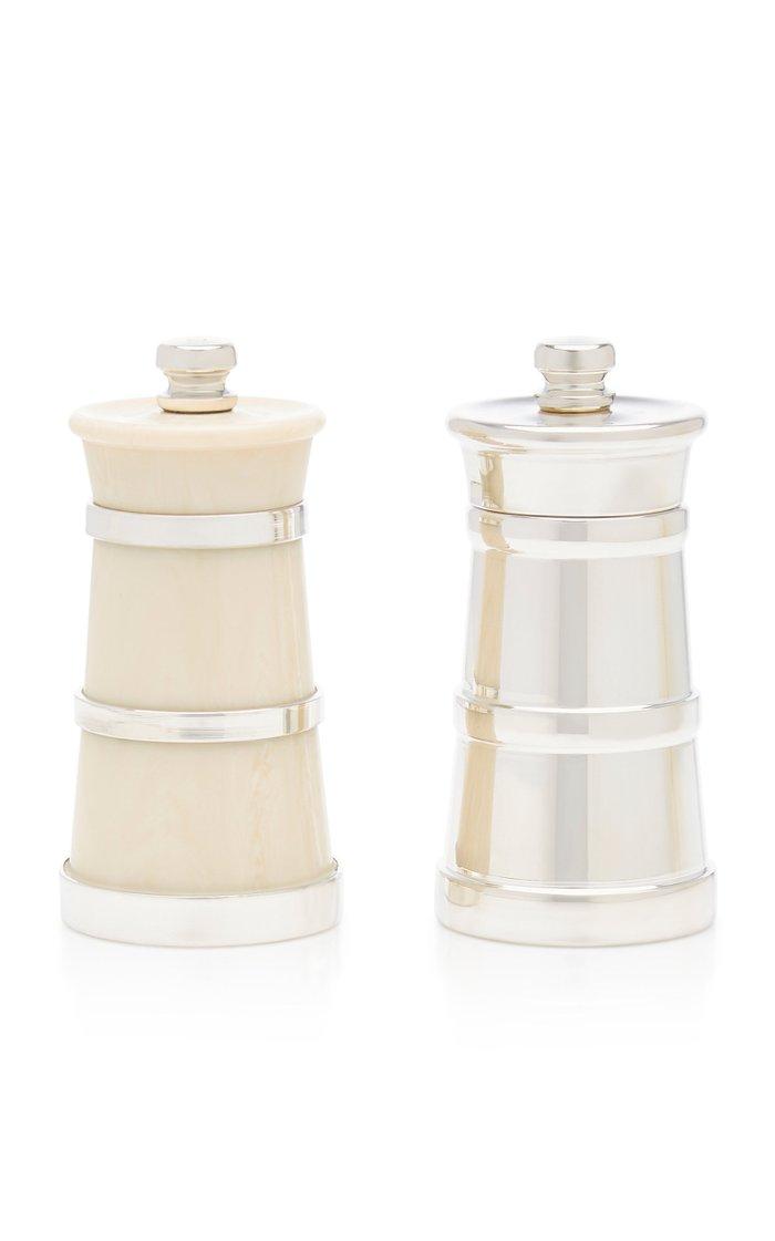 Silver Pepper and Ivory Salt Shaker Set