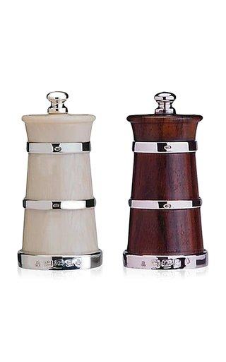 Ivory Salt and Wood Pepper Shaker Set