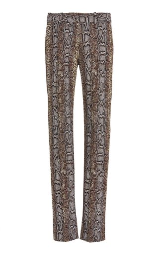 SpecialOrder-Snake-Print Stretch-Cotton Slim-Fit Pants-BM