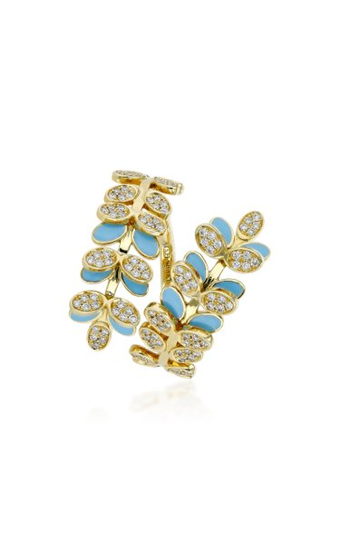 Victory Dance 18K Gold, Diamond And Enamel Ring