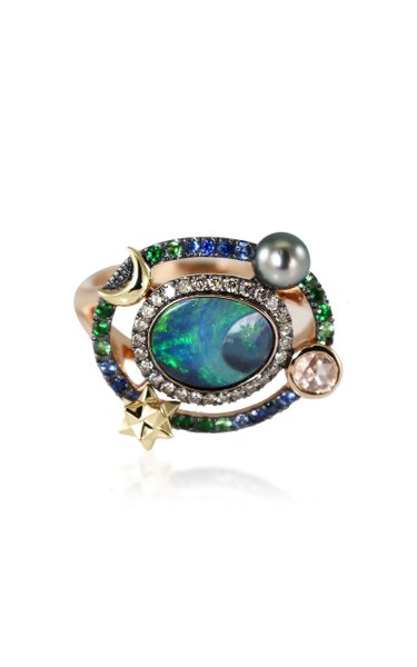 Galaxy Small 18K Rose And Yellow Gold And Multi-Stone Ring