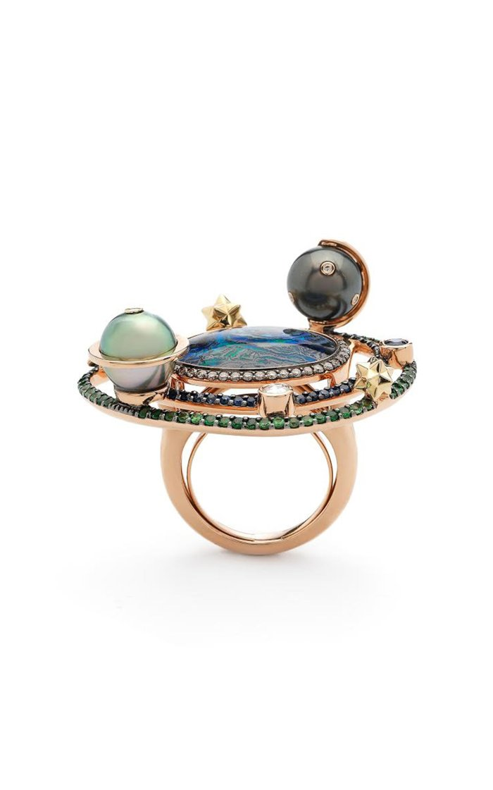 Galaxy Big 18K Rose And Yellow Gold And Multi-Stone Ring