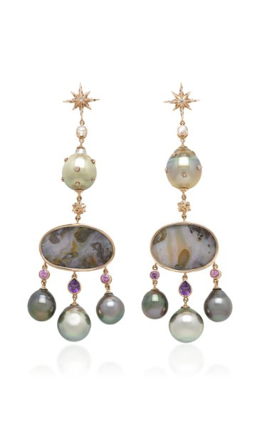 Galaxy 18K Rose Gold And Multi-Stone Earrings