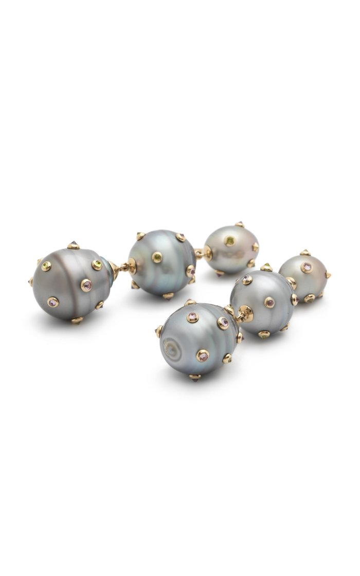 18K White Gold And Multi-Stone Earrings