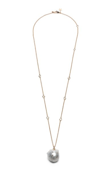 18K Rose Gold, Diamond And Pearl Necklace