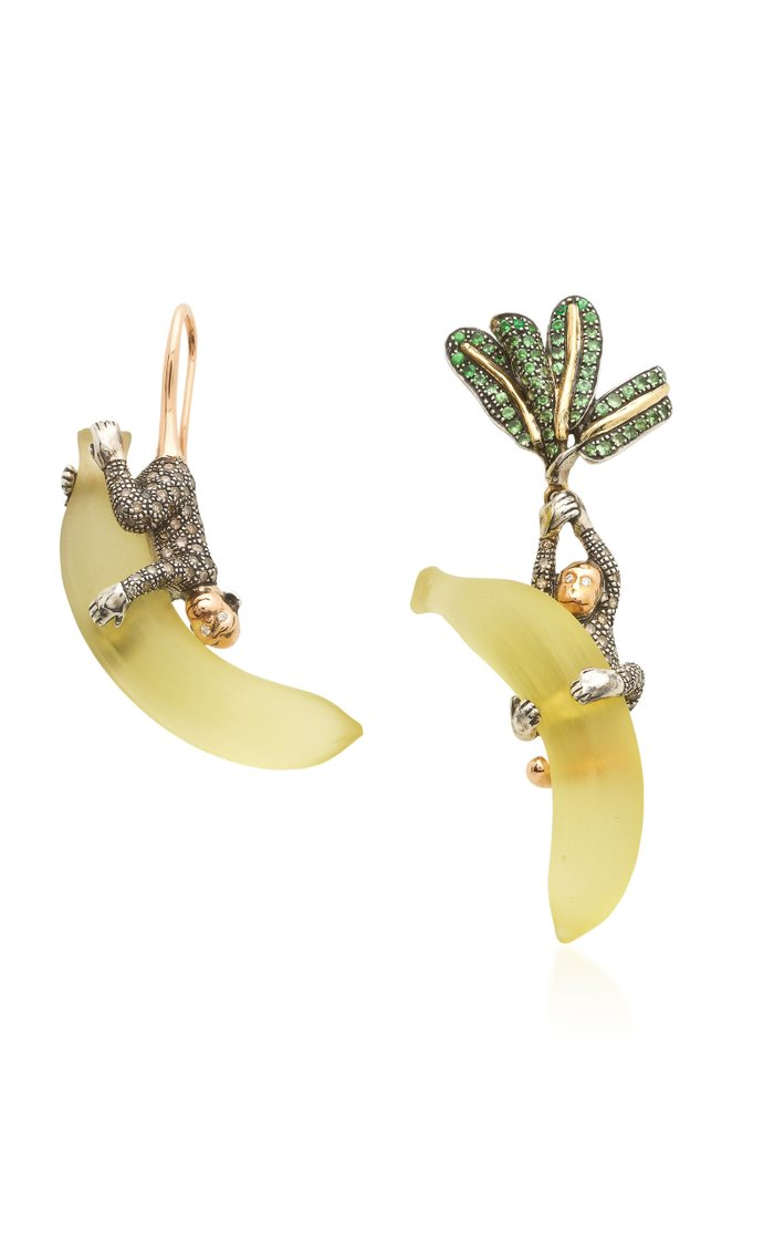 Monkey On Banana 18K Rose And Yellow Gold, Sterling Silver And Multi-Stone Earrings