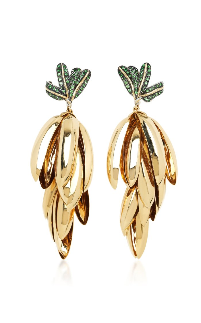 Monkey Banana Bunch 18K Gold, Sterling Silver And Tsavorite Earrings