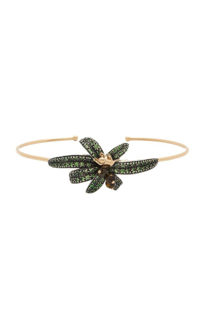 Monkey Palm 18K Rose Gold, Tiger's Eye And Tsavorite Bracelet