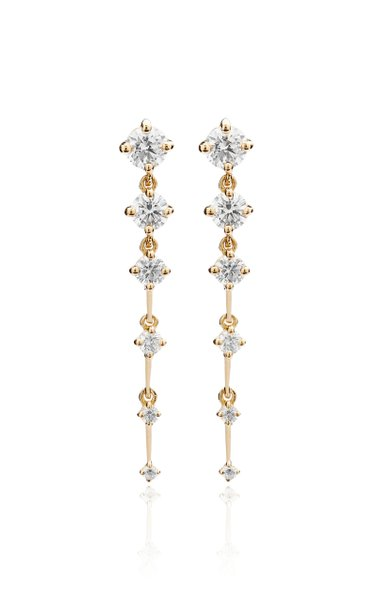 Sequence Short Diamond 18K Yellow Gold Earrings