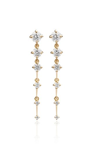 Sequence Short Diamond 18K Yellow Gold Earrings
