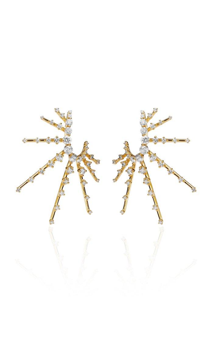 Radiant Diamond 18K Yellow Gold Earrings