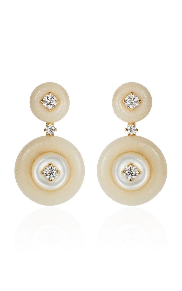 Signal Diamond, Tagua, Mother-of-Pearl 18K Yellow Gold Earrings