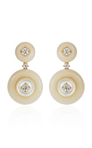 Signal Diamond, Tagua, Mother-of-Pearl 18K Yellow Gold Earrings