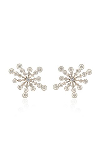 Small Satellite Diamond, Mother-of-Pearl 18K Yellow Gold Earrings