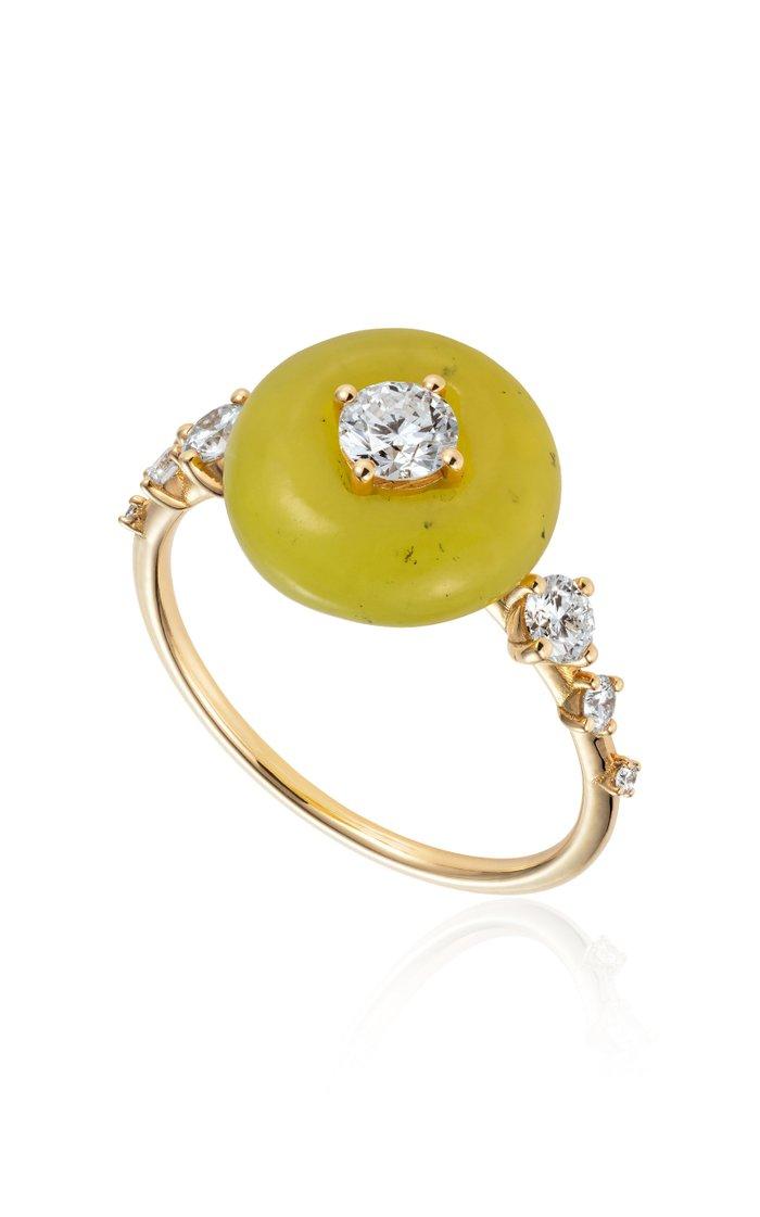 Orbit Diamond, Serpentine 18K Yellow Gold Ring