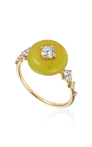 Orbit Diamond, Serpentine 18K Yellow Gold Ring