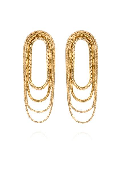 Multi-Chain 18K Yellow Gold Earrings
