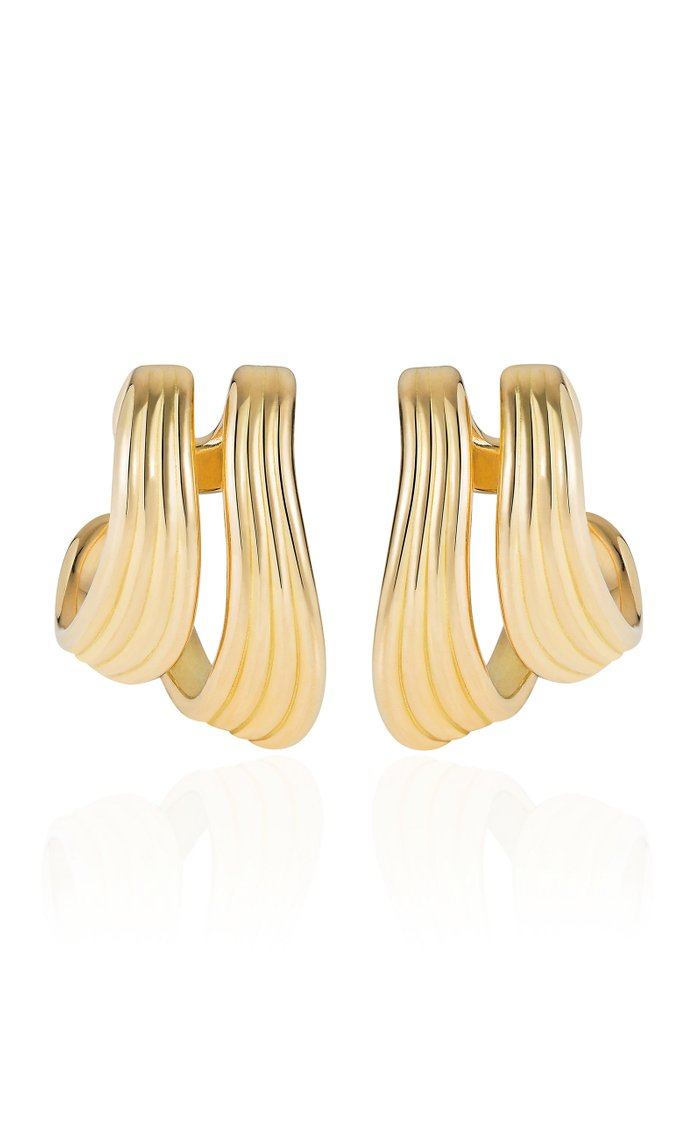Stream Lines 18k Yellow Gold Hoops