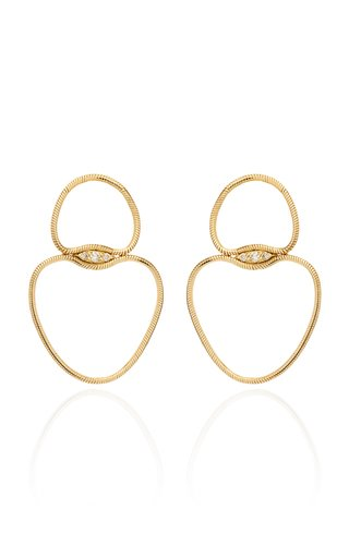 Fluid Small Chain Diamond 18K Yellow Gold Earrings