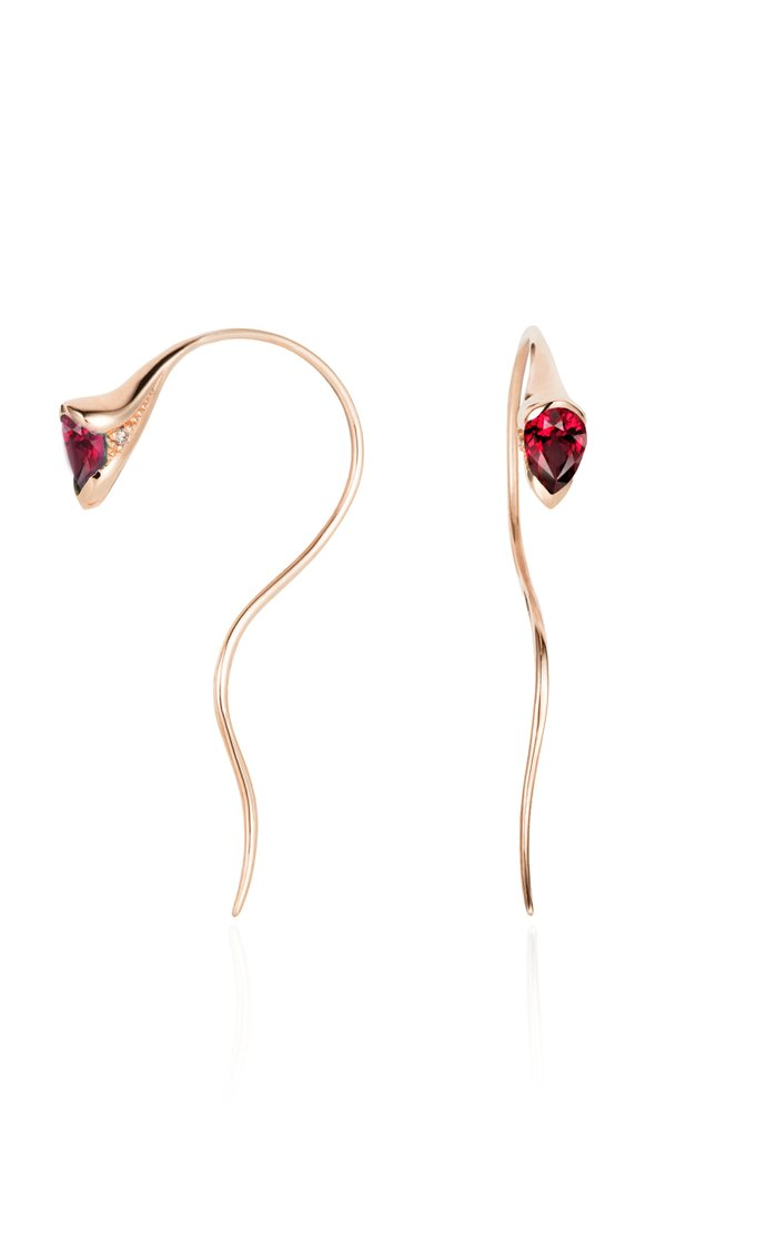 Sprout Small 18k Rose-Gold, Diamond and Sapphire Earrings