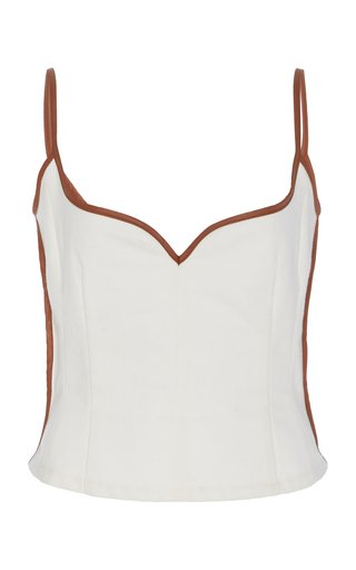 SpecialOrder-Heart Leather-Trimmed Cotton Tank Top-CZ