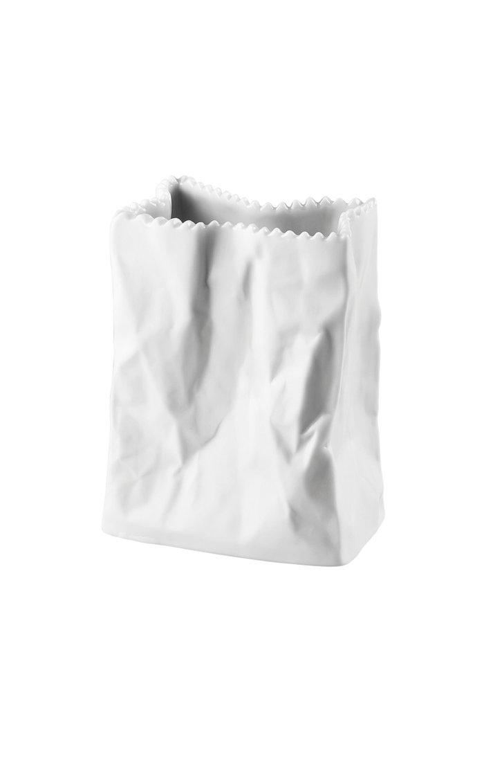 Small Porcelain Paper Bag Vase, 10cm