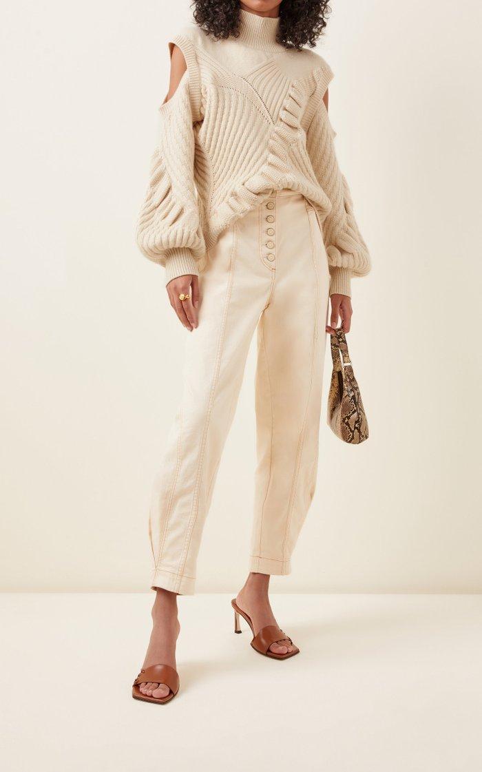 Velli Cold-Shoulder Knit Mock-Neck Sweater
