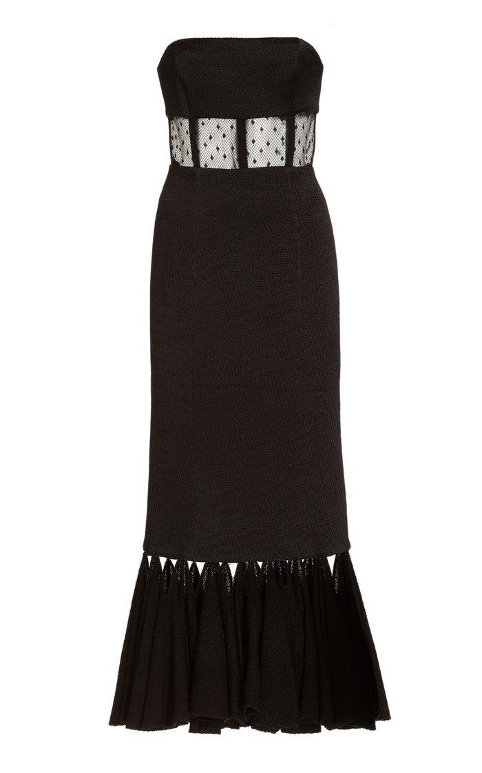 Verbena Cutout Dotted Tulle Midi Dress