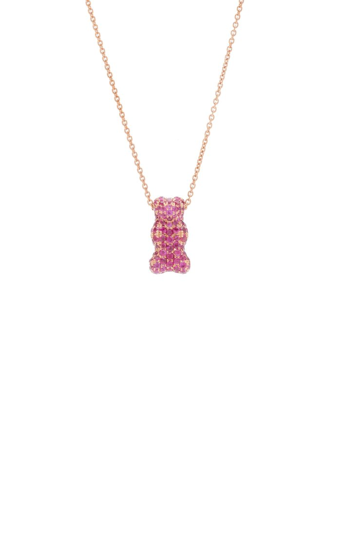 18K Rose-Gold and Ruby Gummy Bear Necklace