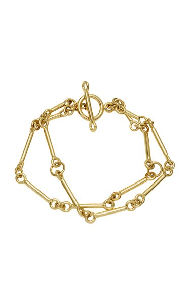 Signature Chain Charm 18K Yellow Gold Bracelet