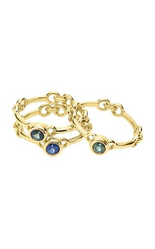 Set-Of-Three Signature Chain 18K Yellow Gold Rings