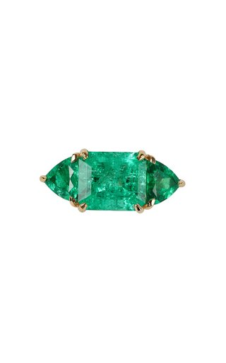 18K Yellow Gold and Three Stone Emerald Ring