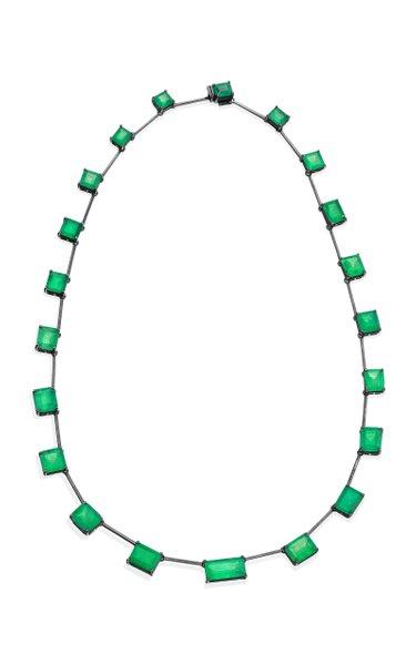 18K Blackened Gold and Emerald Mixshape Necklace