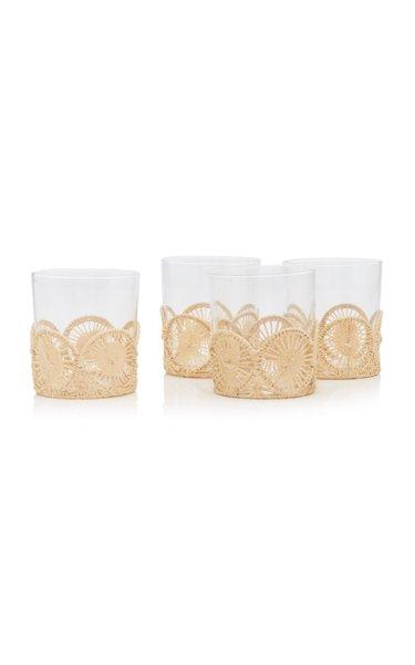 Large Straw Holder and Glasses Set