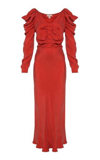 -Drape-Detailed Brushed Twill Midi Dress