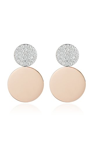Walters Faith Lytton 2 18k Rose-gold And Diamond Disc Drop Earrings In Pink
