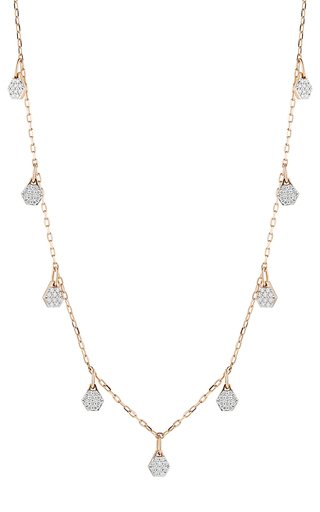Walters Faith Dora Diamond-charm 18k Rose-gold Necklace In Pink