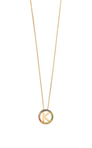 14K Yellow Gold and Rainbow Sapphire Small Alphabet Circus Necklace