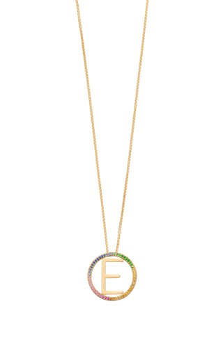 14K Yellow Gold and Rainbow Sapphire Medium Alphabet Circus Necklace