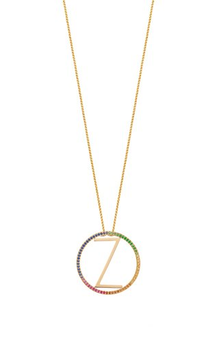14K Yellow Gold and Rainbow Sapphire Large Alphabet Circus Necklace