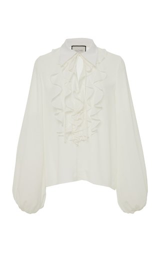 Specialorder-Niseema Crepe De Chine Ruffled Blouse-KB