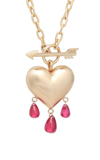 Bleeding Heart 14K Gold And Ruby Necklace