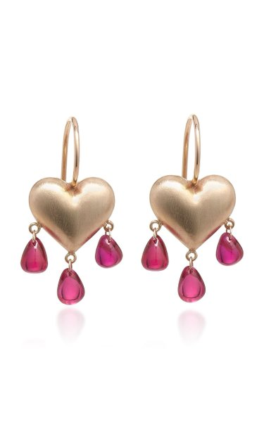 Bleeding Heart 14K Gold And Ruby Earrings