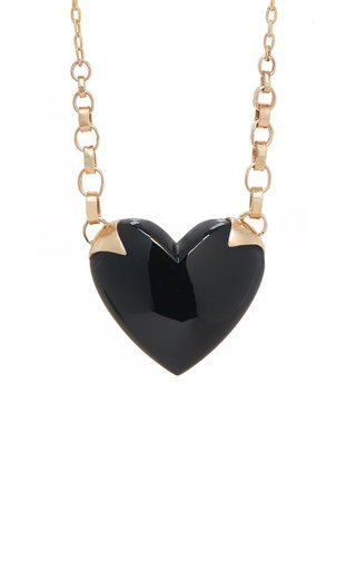 Shackled Heart 14K Gold And Onyx Necklace