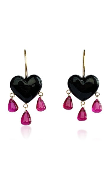 Bleeding Heart 14K Gold, Onyx And Ruby Earrings