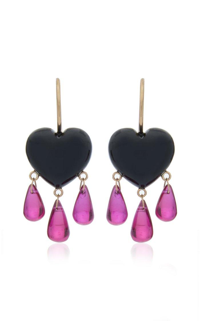 Bleeding Heart 14K Gold, Onyx And Ruby Earrings