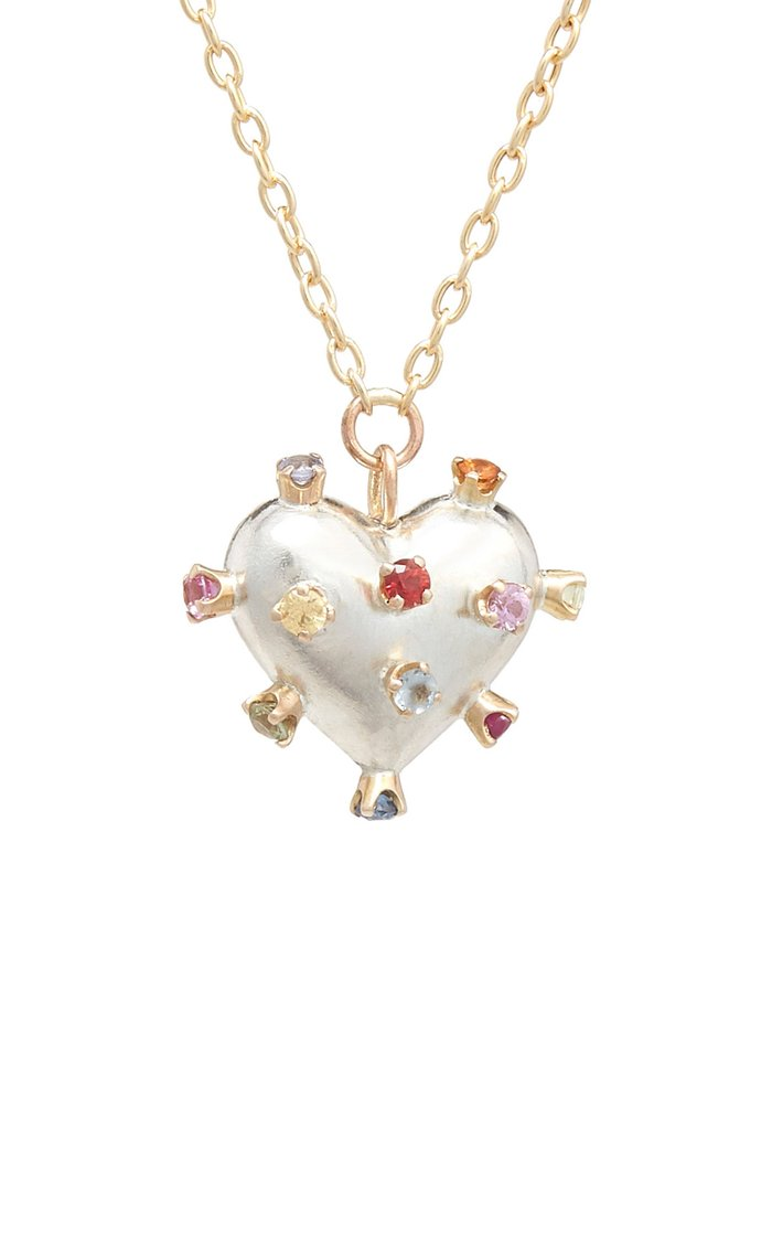 Confetti Heart 14K Gold, Sterling Silver And Sapphire Necklace