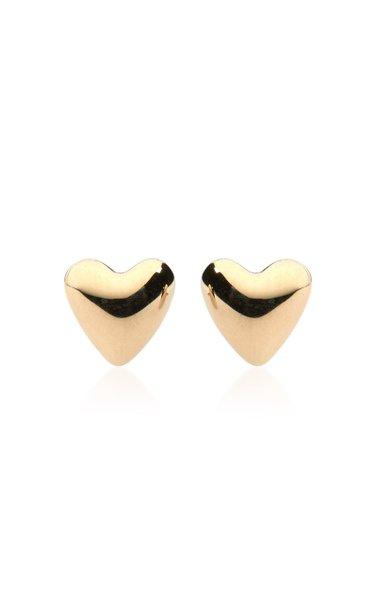 Puffed Heart 14K Yellow Gold Stud Earrings