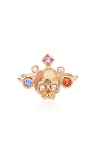 Crowned Skull 14K Yellow Gold Ring