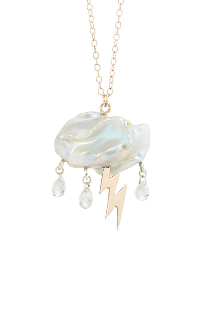 Storm Cloud Pearl 14K Yellow Gold Necklace
